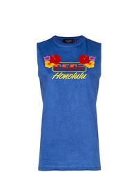 Camiseta sin manga estampada azul de Dsquared2