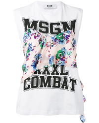 Camiseta sin manga estampada blanca de MSGM