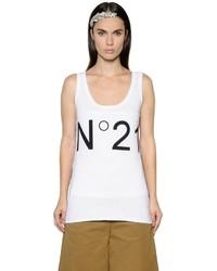 Camiseta sin Manga Estampada Blanca de N°21