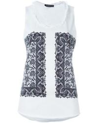 Camiseta sin manga estampada en blanco y negro de Alexander McQueen