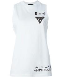 Camiseta sin Manga Estampada en Blanco y Negro de Alexander Wang