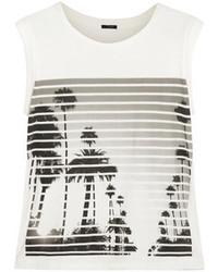 Camiseta sin Manga Estampada en Blanco y Negro de J.Crew