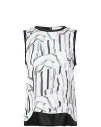 Camiseta sin Manga Estampada en Blanco y Negro de Nicole Miller