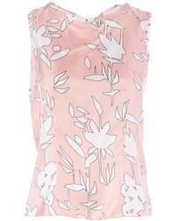 Camiseta sin manga estampada en blanco y rosa de Marni
