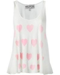 Camiseta sin manga estampada en blanco y rosa de Wildfox Couture