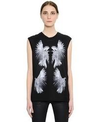 Camiseta sin manga estampada en negro y blanco de Alexander McQueen