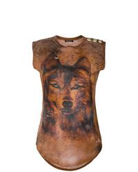 Camiseta sin manga estampada marrón de Balmain