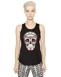 Camiseta sin manga estampada negra de Alexander McQueen
