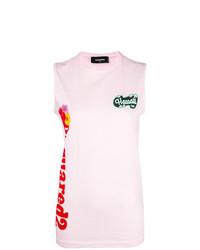 Camiseta sin manga estampada rosada de Dsquared2