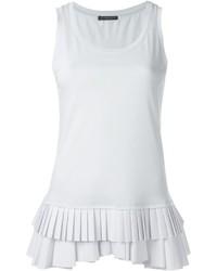 Camiseta sin manga plisada blanca de Alexander McQueen
