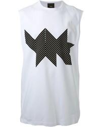 Camiseta sin mangas con estampado geométrico blanca de Thamanyah