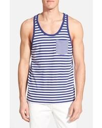 Camiseta sin mangas de rayas horizontales en azul marino y blanco de Bonobos