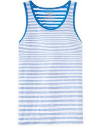Camiseta sin mangas de rayas horizontales en blanco y azul