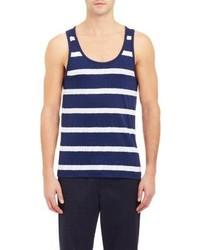 Camiseta sin mangas en azul marino y blanco