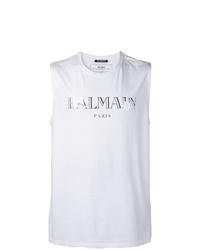 Camiseta sin mangas estampada blanca de Balmain