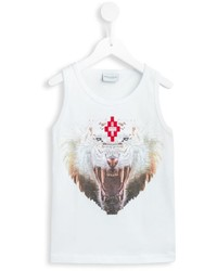 Camiseta sin mangas estampada blanca