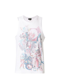 Camiseta sin mangas estampada blanca de Comme Des Garcons Homme Plus