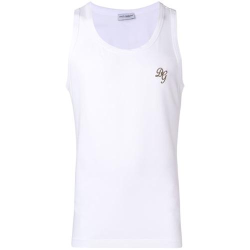 Camiseta sin mangas estampada blanca de Dolce & Gabbana Underwear