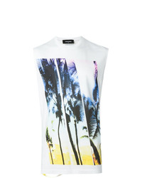 Camiseta sin mangas estampada blanca de DSQUARED2