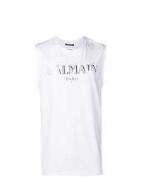 Camiseta sin mangas estampada en blanco y negro de Balmain