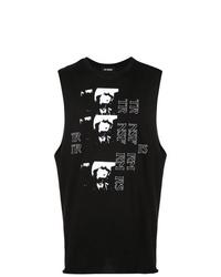 Camiseta sin mangas estampada en negro y blanco de Raf Simons