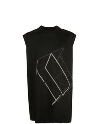Camiseta sin mangas estampada en negro y blanco de Rick Owens