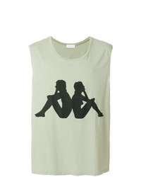 Camiseta sin mangas estampada en verde menta