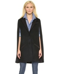 No matter where you go over the course of the day, you'll be stylishly prepared in a grey shift dress and a cape coat.