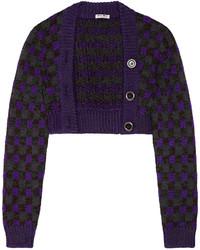 Cárdigan a cuadros en violeta de Miu Miu