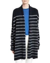 Cárdigan de lana rizada de rayas horizontales azul marino de Vince