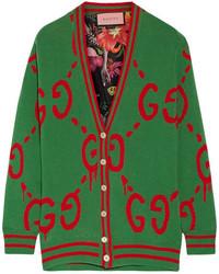 Cárdigan estampado verde de Gucci