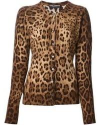 Cardigan imprimé léopard marron Dolce & Gabbana