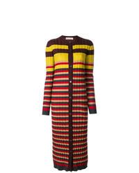 Cardigan long à rayures horizontales multicolore