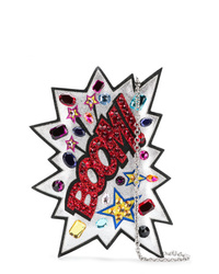Cartera sobre de cuero con adornos plateada de Dolce & Gabbana