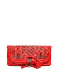 Cartera Sobre de Cuero con Tachuelas Roja de Alexander McQueen