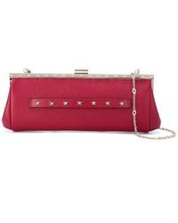 Cartera Sobre de Cuero con Tachuelas Roja de RED Valentino