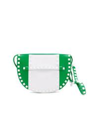 Cartera sobre de cuero con tachuelas verde de Valentino
