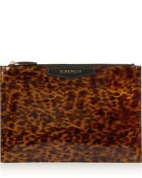 Cartera sobre de cuero de leopardo en marrón oscuro de Givenchy