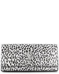 Cartera sobre de cuero de leopardo en negro y blanco de Saint Laurent