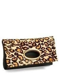 Cartera sobre de cuero de leopardo marrón claro