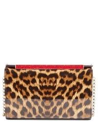 Cartera sobre de cuero de leopardo marrón de Christian Louboutin