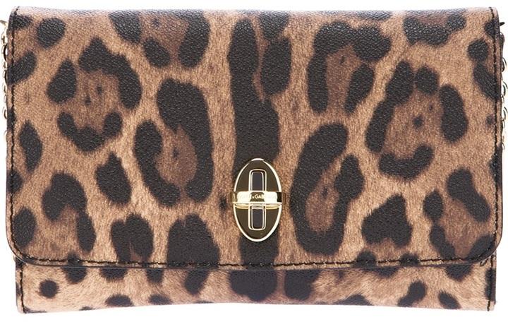 Cartera sobre de cuero de leopardo marrón de Dolce & Gabbana