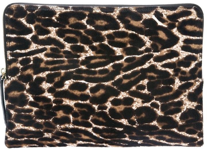 Cartera sobre de cuero de leopardo marrón de Lanvin