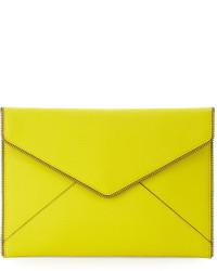 Cartera sobre de cuero en amarillo verdoso de Rebecca Minkoff