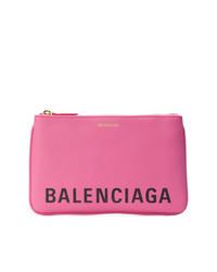 Cartera sobre de cuero estampada rosa de Balenciaga