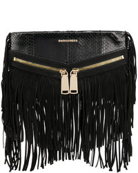 Cartera sobre de cuero сon flecos negra de Dsquared2