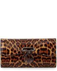 Cartera sobre de leopardo en marrón oscuro