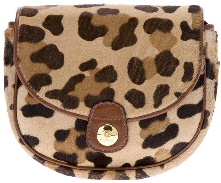 Cartera sobre de leopardo marrón claro de Celine