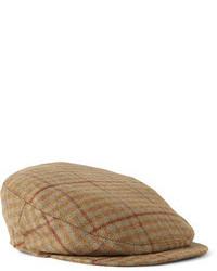 Casquette plate écossais brun
