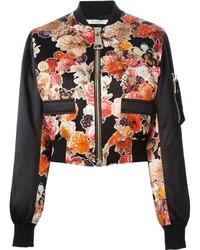 Cazadora de aviador con print de flores negra de Givenchy